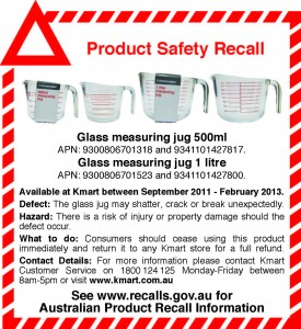Product Recall – Homemaker Glass Measuring Jug